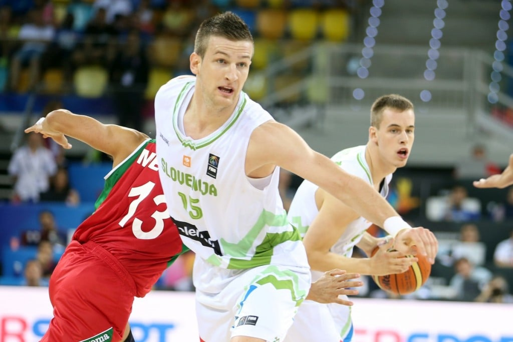 of Slovenia in action during second round match Mexico-Slovenia in group D in Gran Canaria Arena, Las Palmas, Canary Islands, 2014 Basketball World Cup, Spain on August 31, 2014